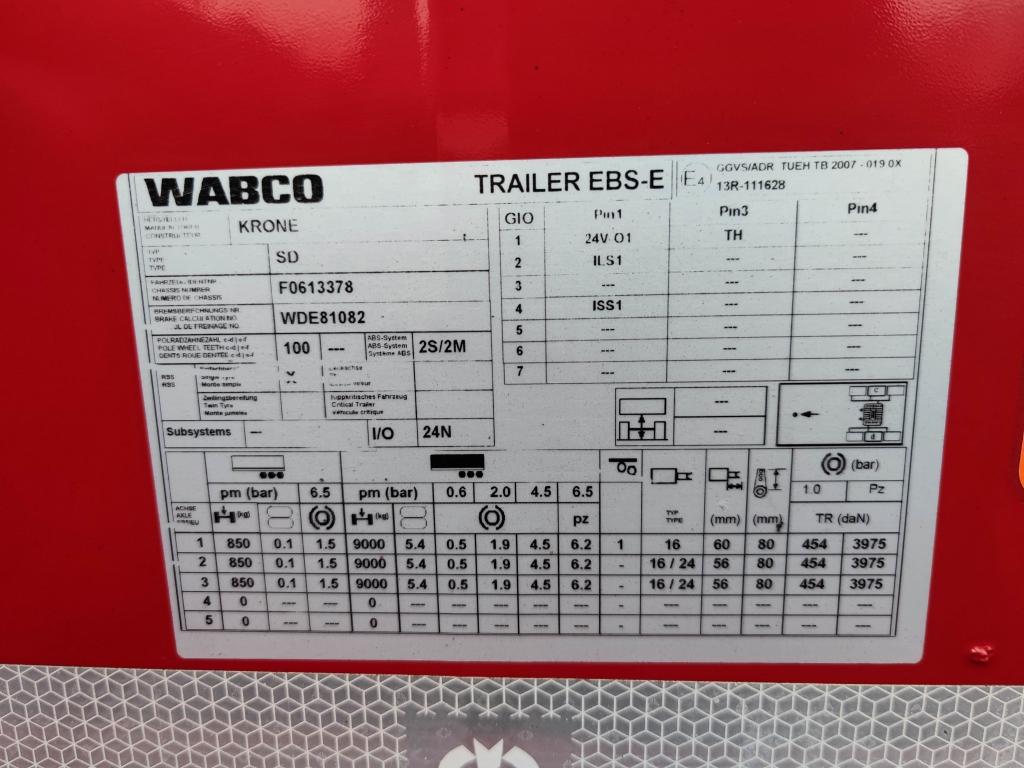 Krone SD 3-Assen BPW - Schijfremmen - Lift-as - 20FT