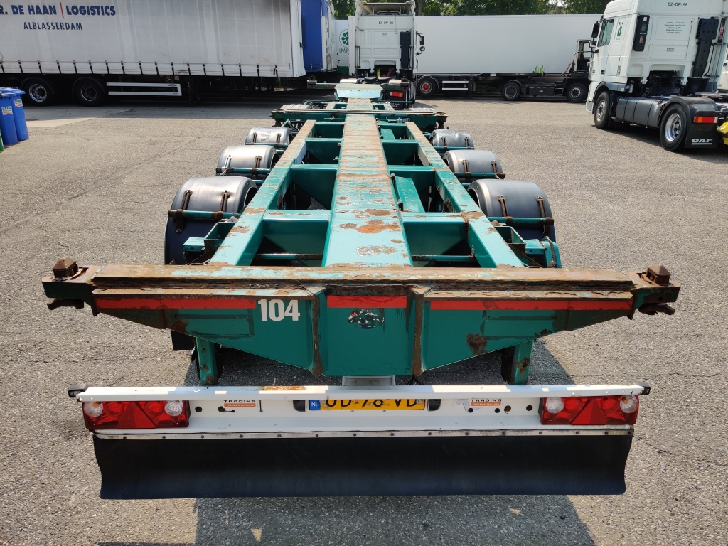Pacton Containerchassis 4-assen / 1-as ROR - 2x Lift-assen - Meeloop stuur-as